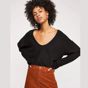 NEW FREE PEOPLE FOREVER CASHMERE SWEATER BLACK
